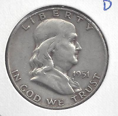 1951 D Franklin Half Dollar Nice circulated 90% Silver US Coin