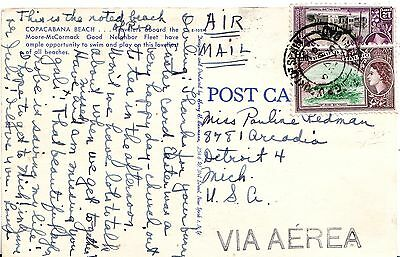 Trinidad Port of Spain 1955 Airmail Cover to Detroit MI USA