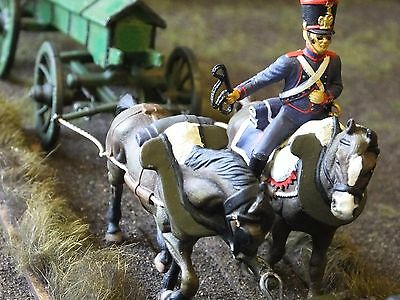 1/32 SCALE (54mm) FRENCH NAPOLEONIC ARTILLERY CAISSON WITH DRIVERS & HORSES