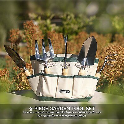 Garden Tool Set Gardening Stainless steel Hand Tools Deluxe Accessories 9 Pcs