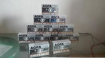 new sealed vintage lot 24 cassette audio AGFA C DX II s 60/90 no tdk maxell sony