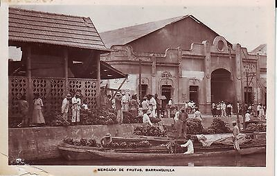 Colombia Barranquilla - Mercado de Frutas old unused real photo sepia postcard
