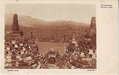 Indonesia Netherlands Boroboedoer - Temple and Total View c. 1930 sepia postcard