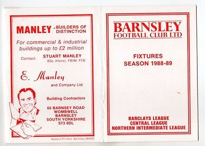 BARNSLEY FC 1988-89 Fixture List official fold out style
