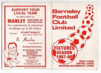 BARNSLEY FC 1987-88 Fixture List official fold out style