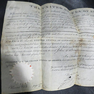 John Quincy Adams Signed Historical1827 Land Grant Document President Wooster OH