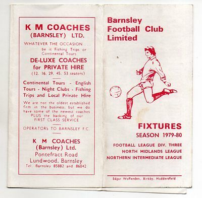 BARNSLEY FC 1979-80 Fixture List official fold out style
