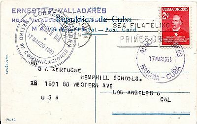1951 FDC Cover 2c to LA CA USA on Matanzas - Independence Memorial postcard