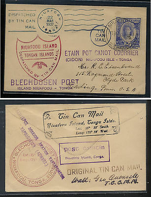 Tonga  tin can mail cover to  US  march, 1937  many markings       MS0219