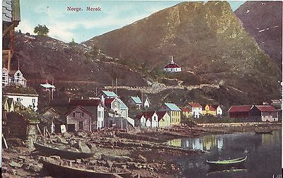 Norway Norge Merok - Total View City and Harbor old postcard
