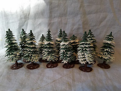 "12 vintage Christmas trees plastic village putz  4 1/2"" tall made in Hong Kong"
