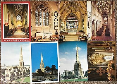 Lot of 8 Postcards of St Mary Redcliffe Church, Bristol - Exterior & Interior