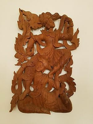 Fine Hand Carved Lovers Embrace Mahogany Wood Plaque Asia Thailand
