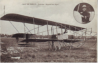 France Camp de Mailly - Airplane Aviation Appareil au depart WWI unused postcard