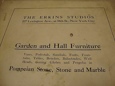 Old 1920's Erkins Studios New York Garden Hall Furniture Catalog Architectural