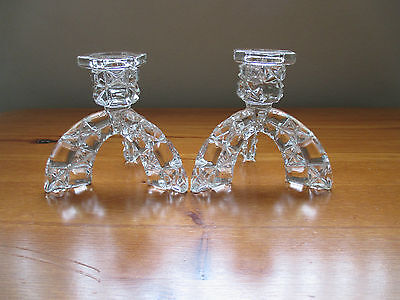 Pair Of Retro Clear Cut Glass Three Legged Candlesticks Candle Holders