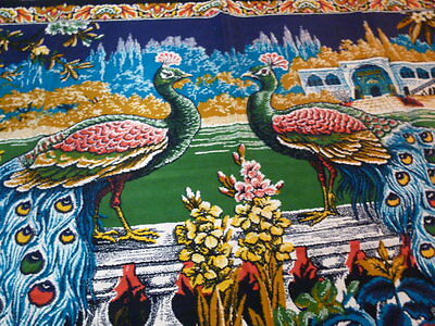 Vintage Velours Tapestry Wall Hanging PEACOCKS  Retro