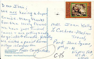 Gunard Princess chrome postcard 1977 Grenada Grenadines Cover Rubens Naples FLA