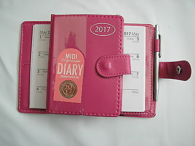"2017 pink leather look midi diary / organiser with pen 5"" x 3.5"""