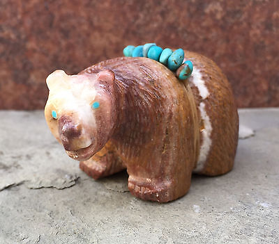 Zuni Fetish-Native American-Zuni Carving-Picasso Marble Bear w/turquoise- Quam