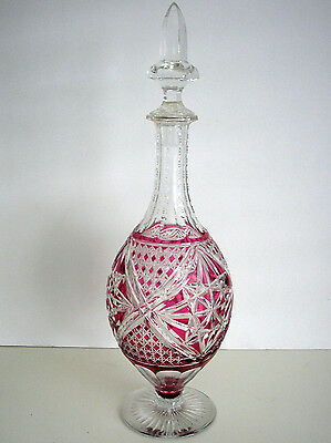 Vintage Baccarat ? Cranberry Cased Cut Clear Crystal Decanter Amazing !!!