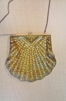 Beaded Evening Clutch Bag Purse with removable chain strap gold tone