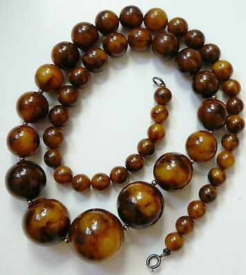 vintage marbled brown & butterscotch bakelite graduated bead necklace