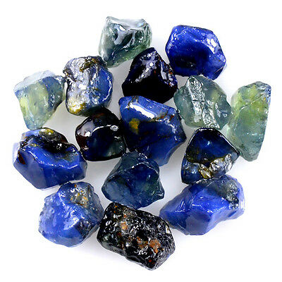 UNHEATED! 15pcs, 20.05ct NATURAL100% UNHEATED BLUE SAPPHIRE ROUGH SPECIMEN NR!