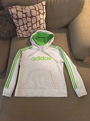 Youth Adidas Gray with Green Pull-over Hoodie Sweatshirt Size L