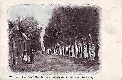 Nethderlands Middelharnis - Weg naar Stad unused undivided back postcard
