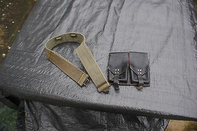 Old German FAL Pouch for the G1 FAL, Leather Military War Mag Pouch & Green Belt