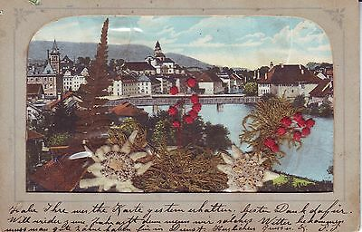 Switzerland Solothurn -Total View 1904 cover mailed vintage embossed postcard
