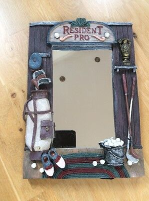 Resident Pro Mirror Depicting Golf Equipment/balls Etc. Wall Hanging Or Stand