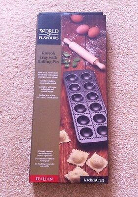 WORLD OF FLAVOURS Ravioli Tray With Rolling Pin.  Brand New