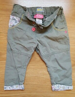 baby girls Next Khaki floral trousers 6-9 months spring
