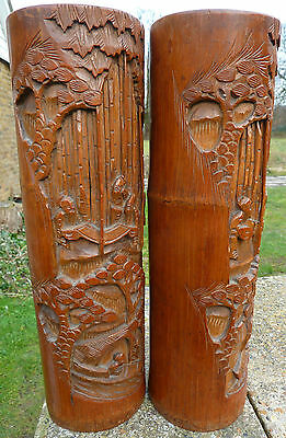 "Superb Antique Pair of Matching Chinese Deep Carved Bamboo Brush Pots 15"" High"