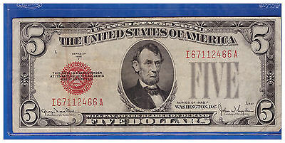 1928F Series $5 Dollar Bill Red Seal United States Currency LH1000