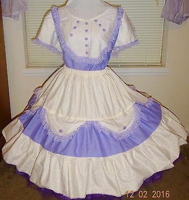 Square Dance Dress 2 Pc White & Lavender Lace  X1  New