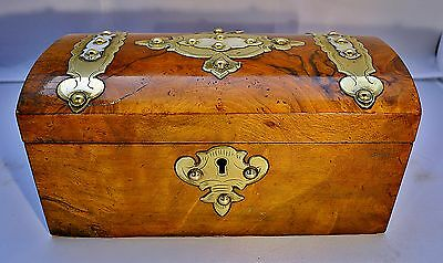 Victorian Dome Topped Walnut Tea Caddy decorated with Brass Bands