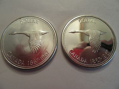 TWO 1967 Royal Canadian Mint Dollars, 1 Unc + 1 Proof Like, 80 % silver