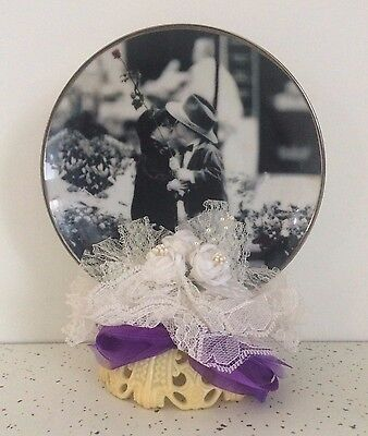 A Rose for a Kiss How Can I Miss Kim Anderson Numbered Plate Wedding Cake Topper