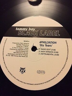 "Tommy Boy Black Label Aphillyation To This Dry Tears Hip Hop 12"" Vinyl"