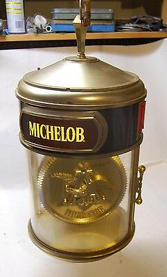 """Michelob Crystal Hanging Light and Clock, Rotates, 25"""" Tall, Works!"""