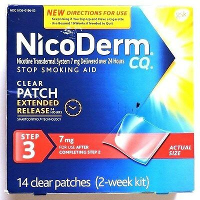 NicoDerm CQ Step 3 Clear Patches 7mg. 14 patches 2 week kit. March 2017