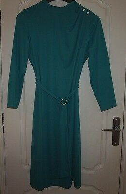 Vintage 70s Norman Lintion Dress fits 18 20 Green Long Sleeve Cocktail Evening