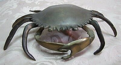 Vtg Figural Brass Crab Trinket Box Ashtray detailed hinged shell removable tray