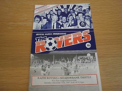 Raith Rovers v Meadowbank Thistle 19 December 1987