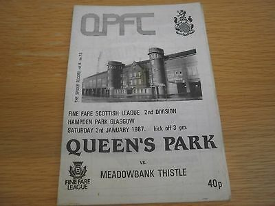Queens Park v Meadowbank Thistle 3 January 1987