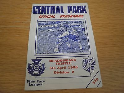 Cowdenbeath v Meadowbank Thistle 5 April 1986