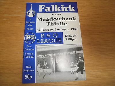 Falkirk v Meadowbank Thistle 3 January 1989
